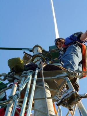 Stephen aloft at the Wind Turbine Maintenance and Repair Class